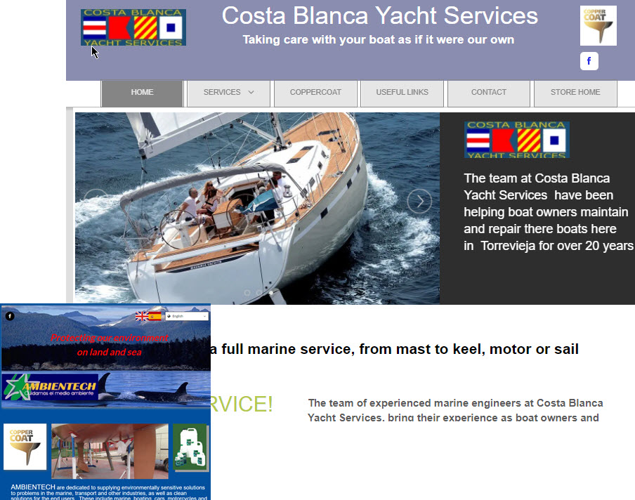 Coasta Blanca Yacht Services and Ambientech websites, refreshed